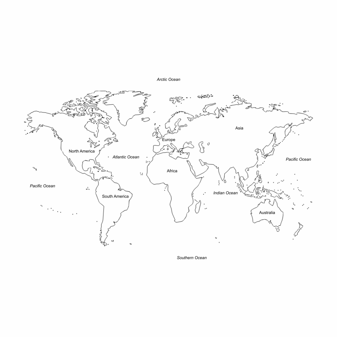 Printable World Map with Continents