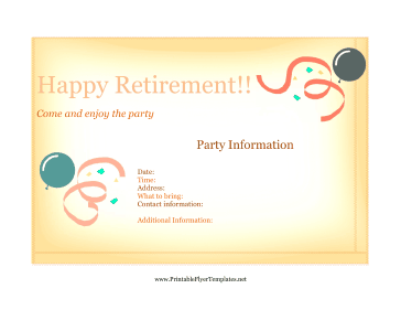 Free Printable Retirement Party Invitation Templates Party