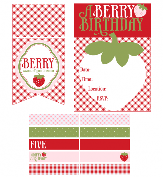 7 Images of Strawberry Party Free Printables