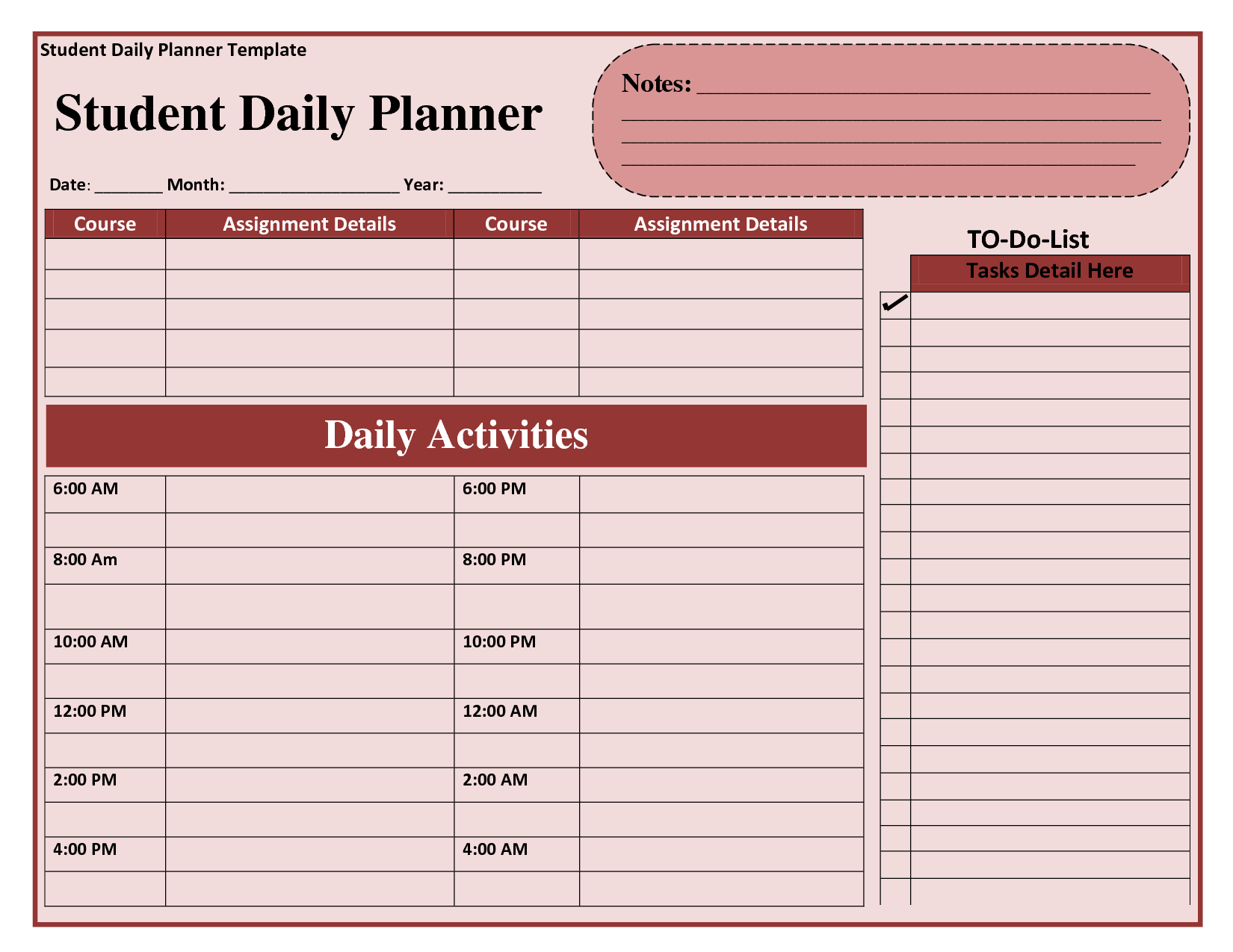 8 best images of student daily planner template printable for Daily schedule template for students