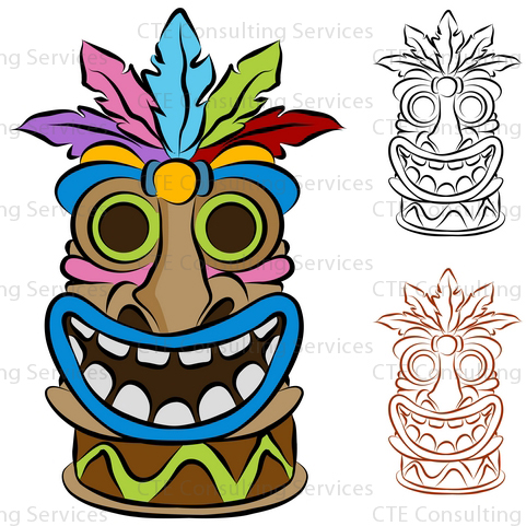 7 Images of Tiki God Luau Printables