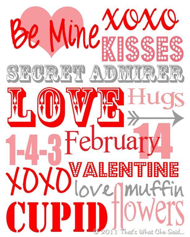 6 Images of Free Printable Valentine Subway Art