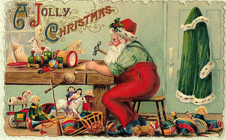 6 Images of Printable Vintage Christmas Postcards