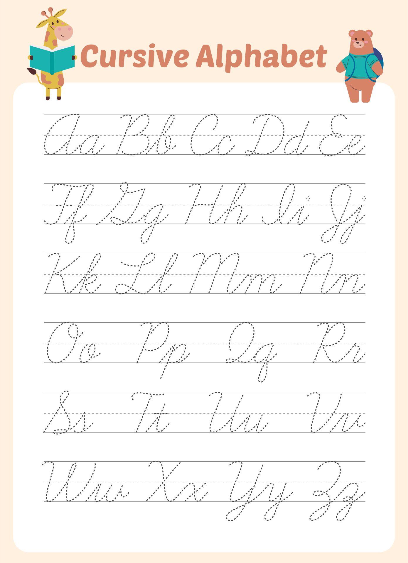 Zaner-Bloser Cursive Alphabet