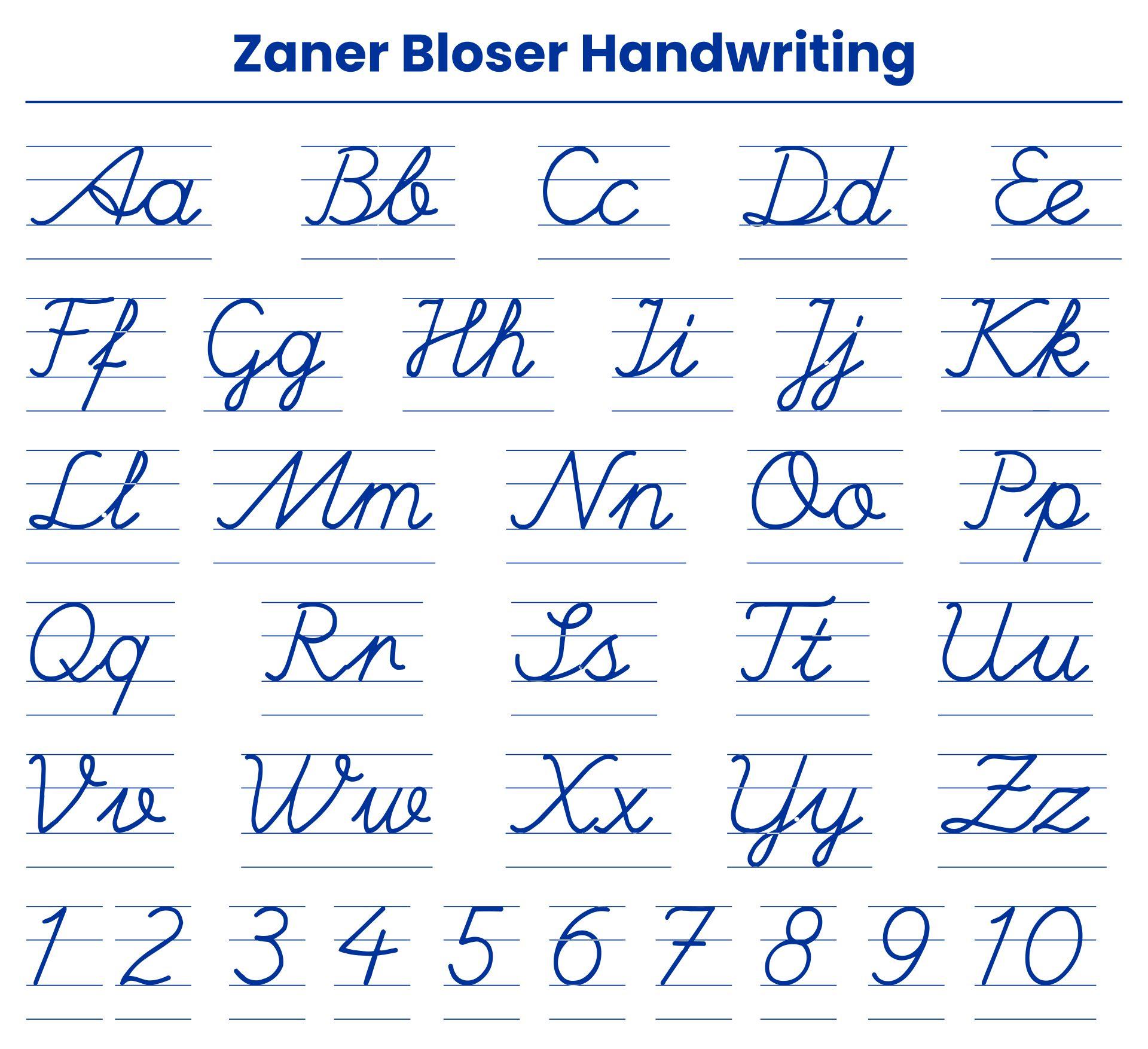 Zaner-Bloser Handwriting Printables