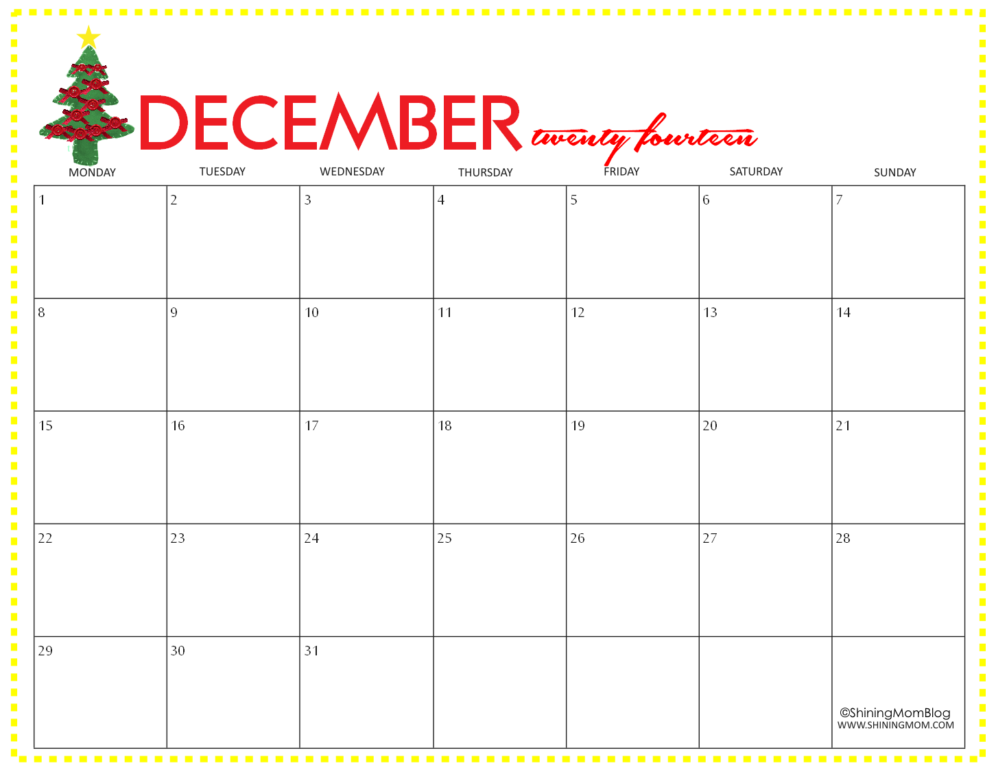 6 Images of Printable December Free 2014 Calendar