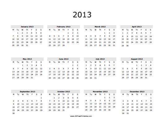 2019 Yearly Calendar Printable Free