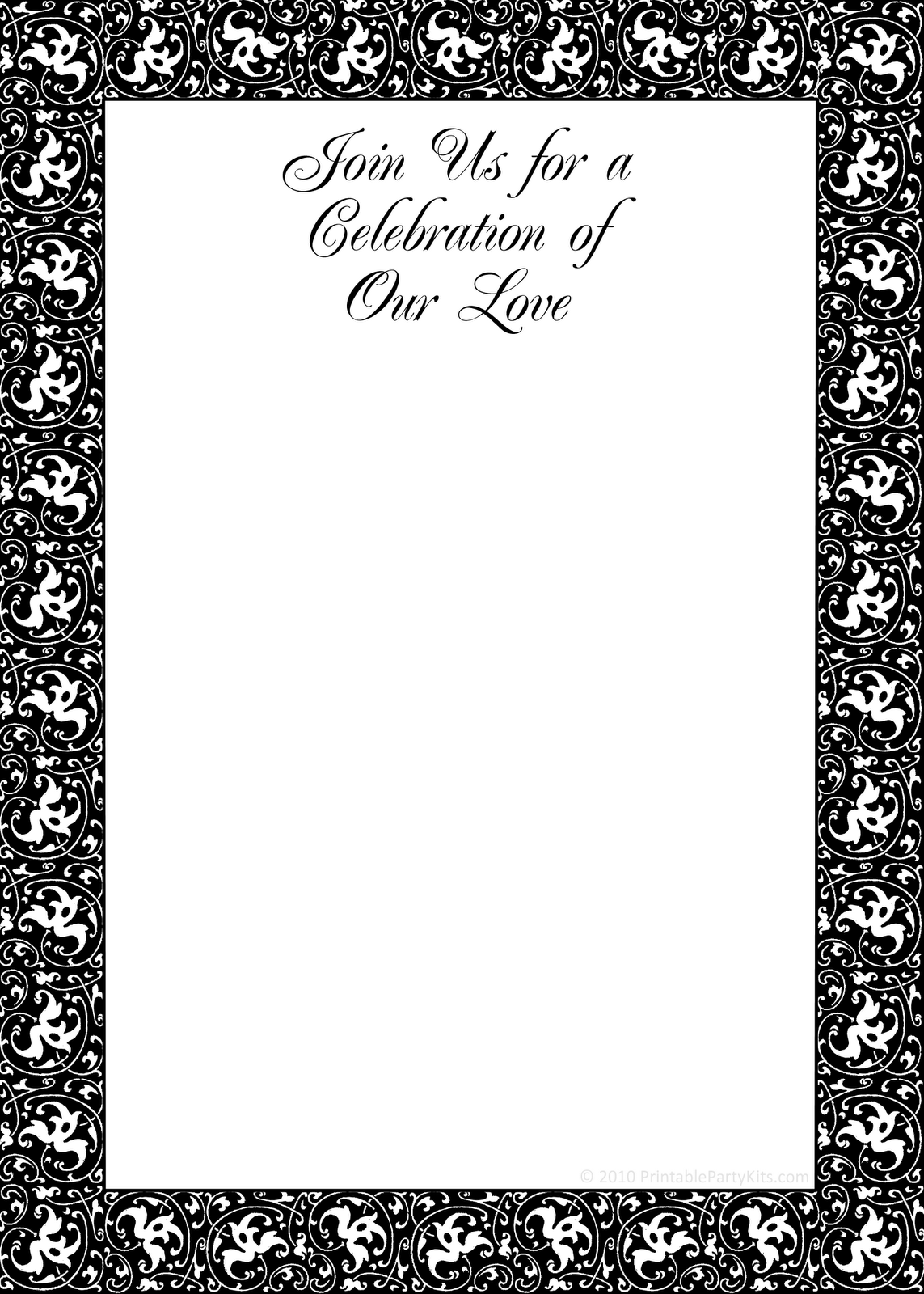 8 Images of Black And White Birthday Invitation Templates Printable