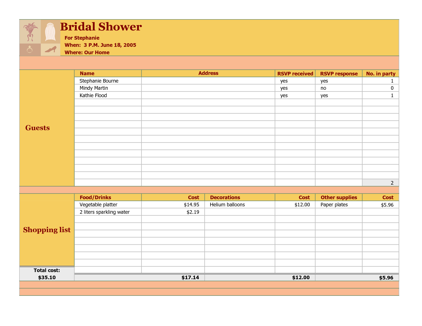 bridal shower guest list template