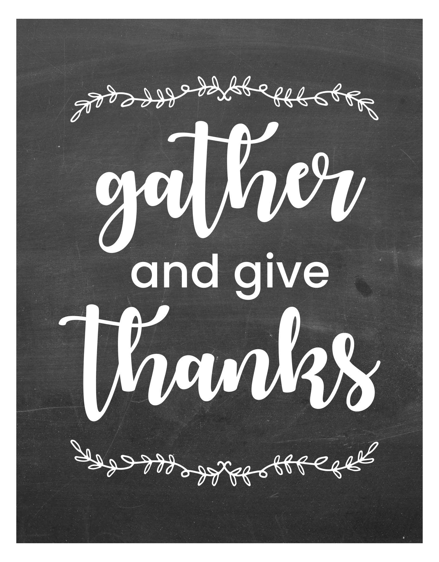 Chalkboard Thanksgiving Printables