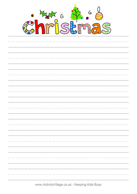 4 best images of christmas themed writing paper printable for Themed printer paper