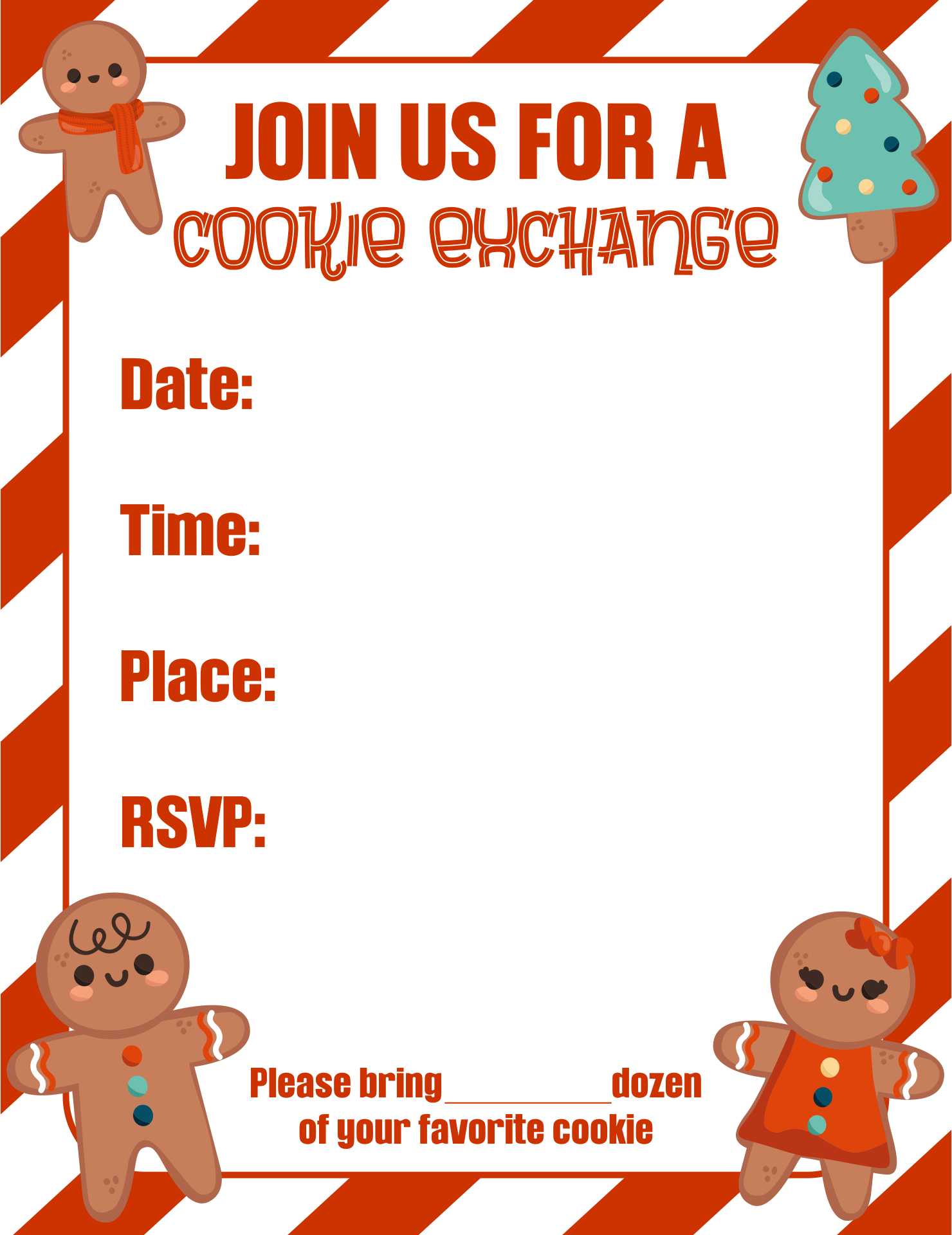 cookie exchange invitation templates ctsfashion com best images of printable cookie exchange invitation cookie exchange invitation templates christmas