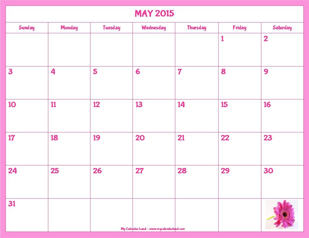 Calendar 2015 May Cute