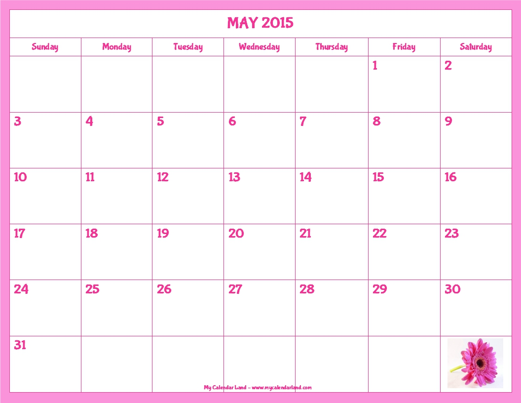 7 Images of Blank Calendar Printable Pink Flowers