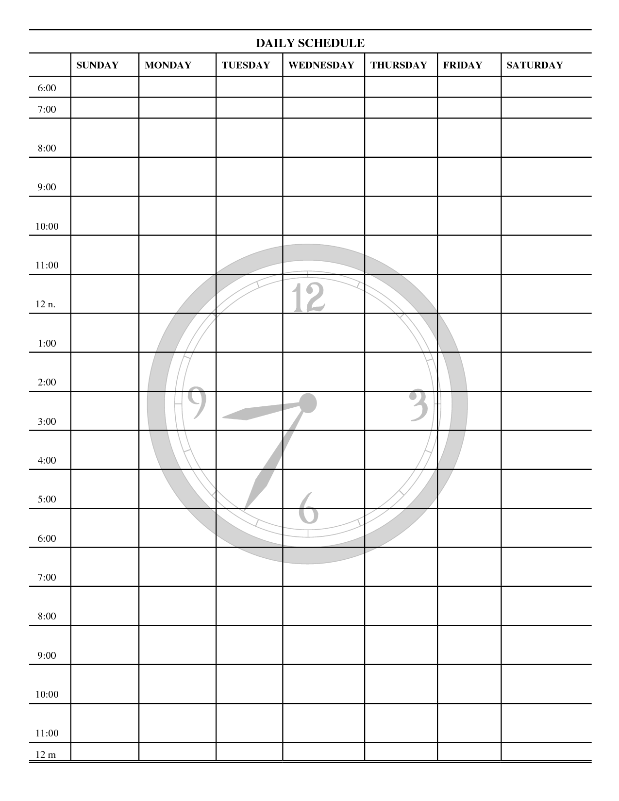 5 Images of Printable Blank Daily Schedule Template