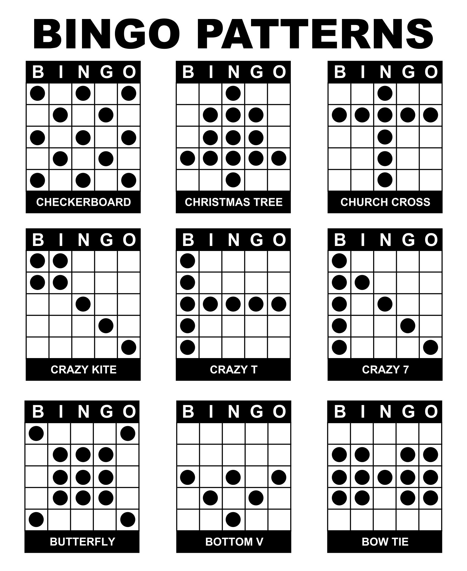 6 Images of Printable Bingo Game Patterns
