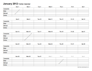 6 Images of Free Printable Monthly Family Calendar