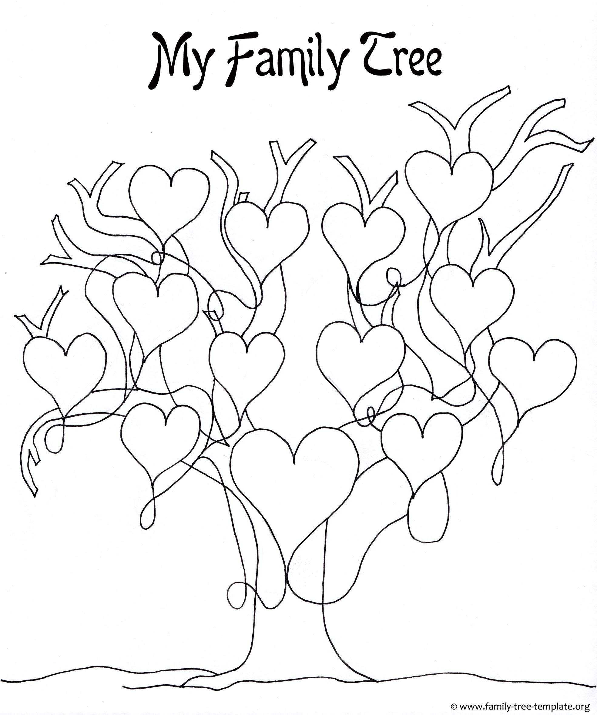 Family Tree Template Coloring Pages