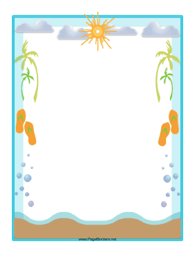5 Images of Free Printable Beach Theme Borders