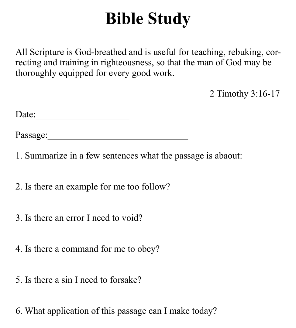 Printable Bible Studies