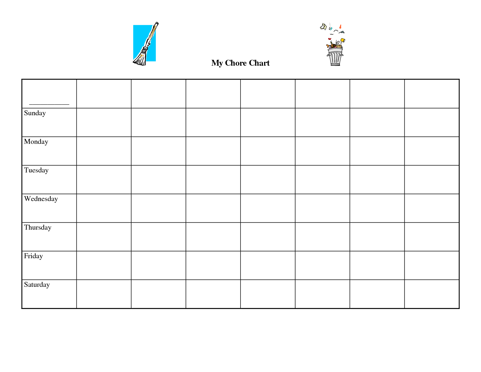 ... Printable Blank Chore Chart Templates & Free Printable Blank Charts