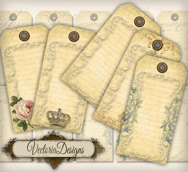 7 Images of Blank Printable Vintage Gift Tags