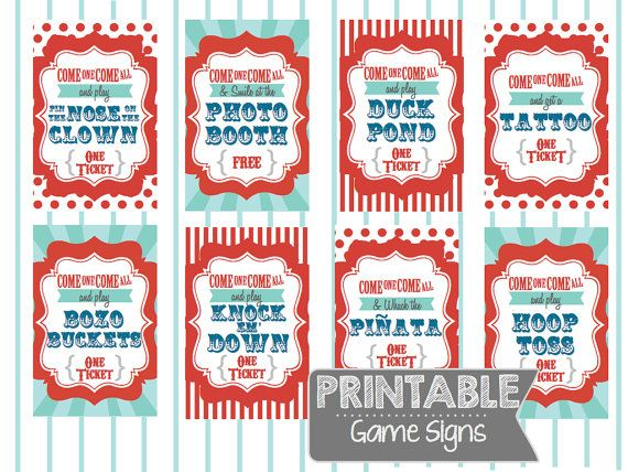 4 Images of Carnival Game Signs Printable