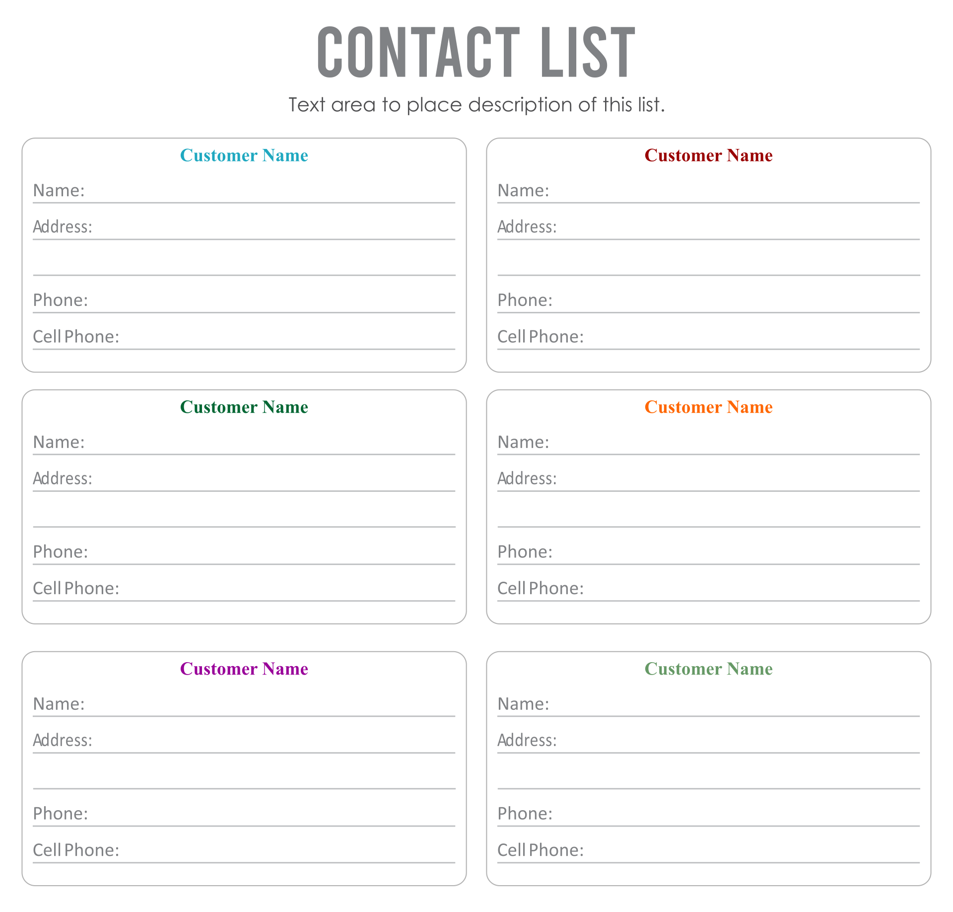 Printable Contact List Templates