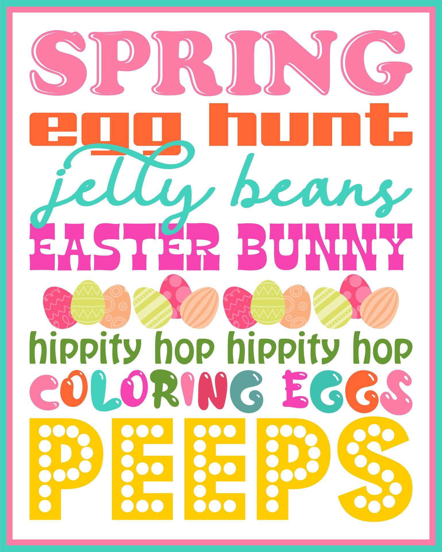 Free Printable Easter Subway Art