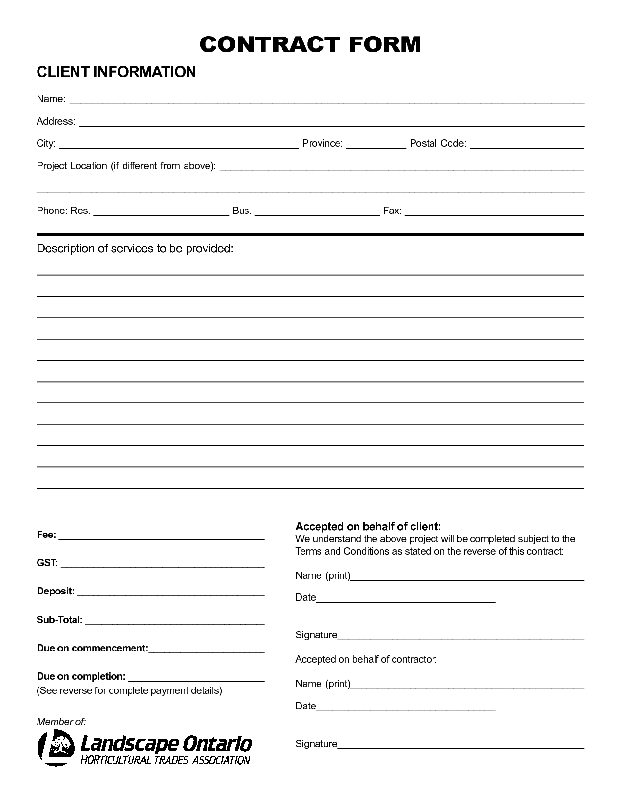 5 best images of free printable blank contract forms for Free contractor agreement template