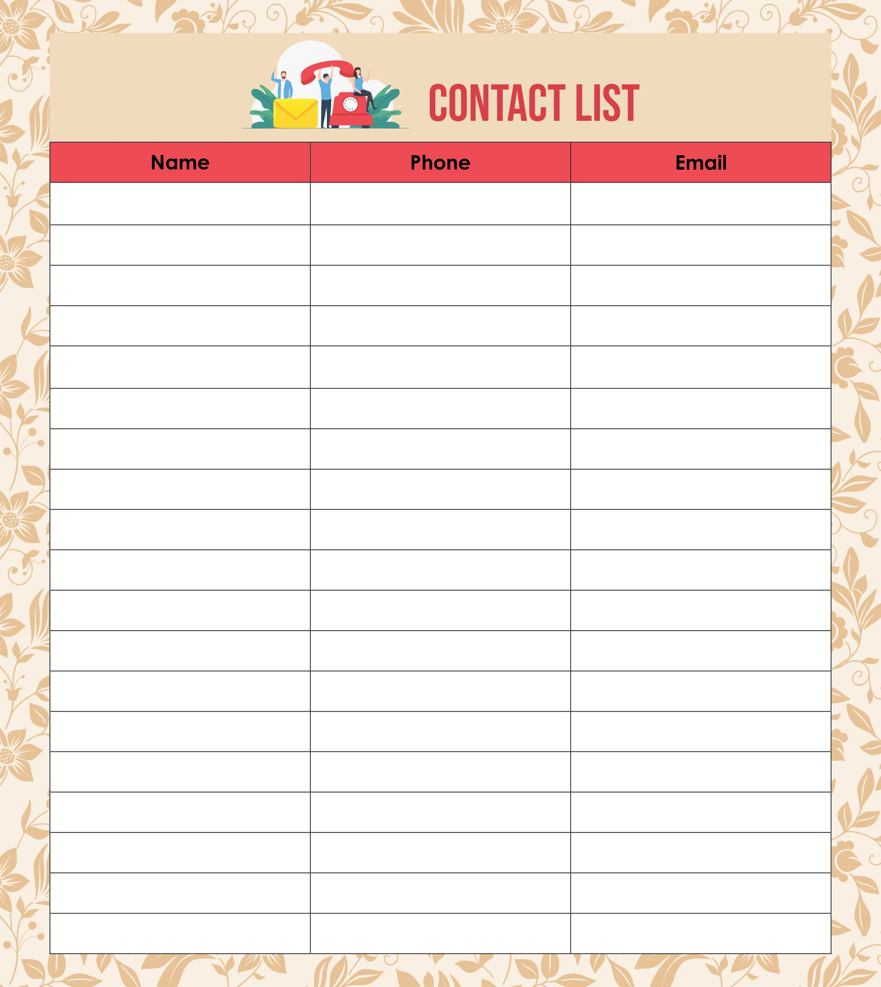 Printable Phone Number List