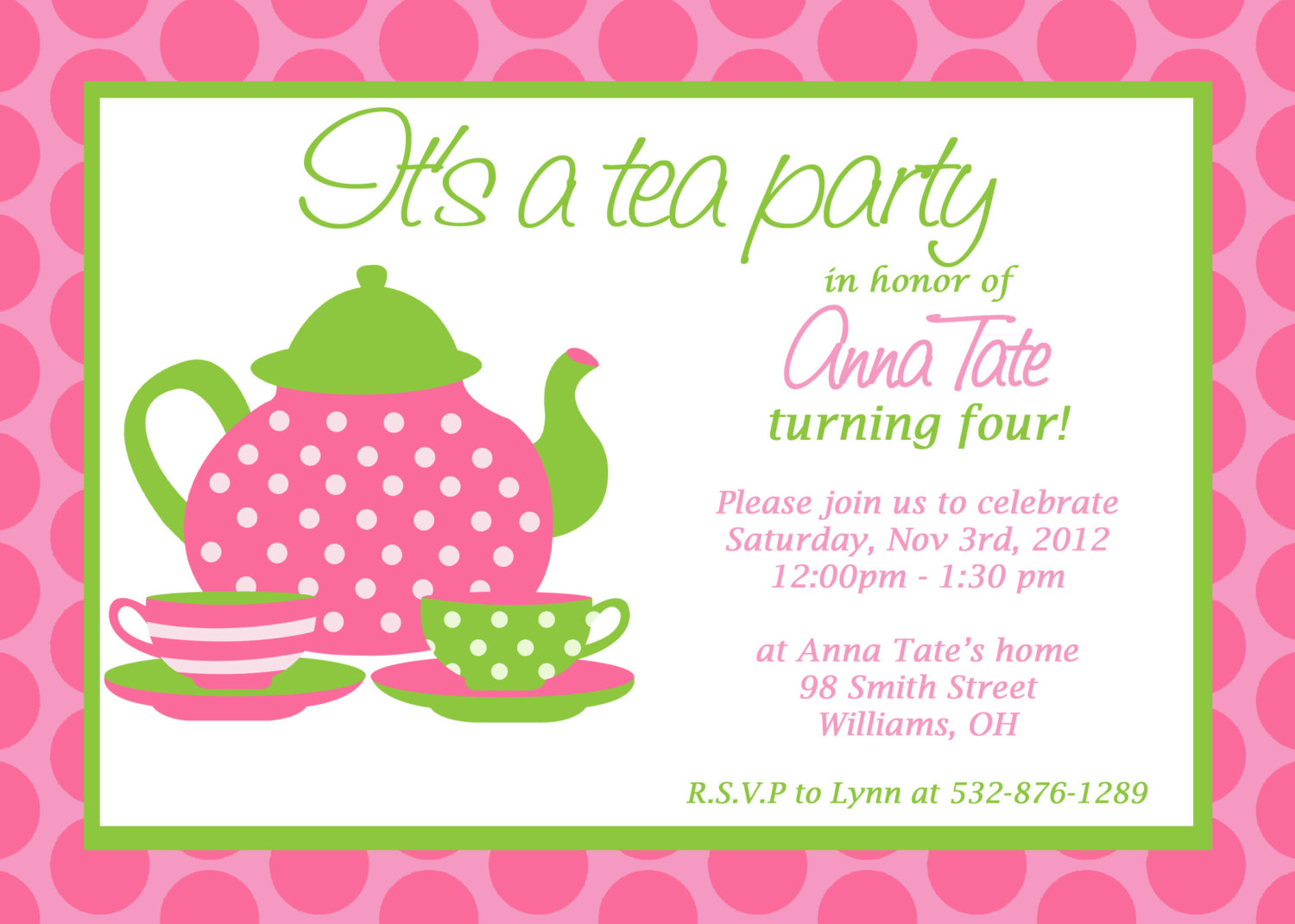 8 Images of Free Printable Tea Party Invitations