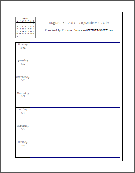 7 Images of Free Printable Weekly Student Calendars