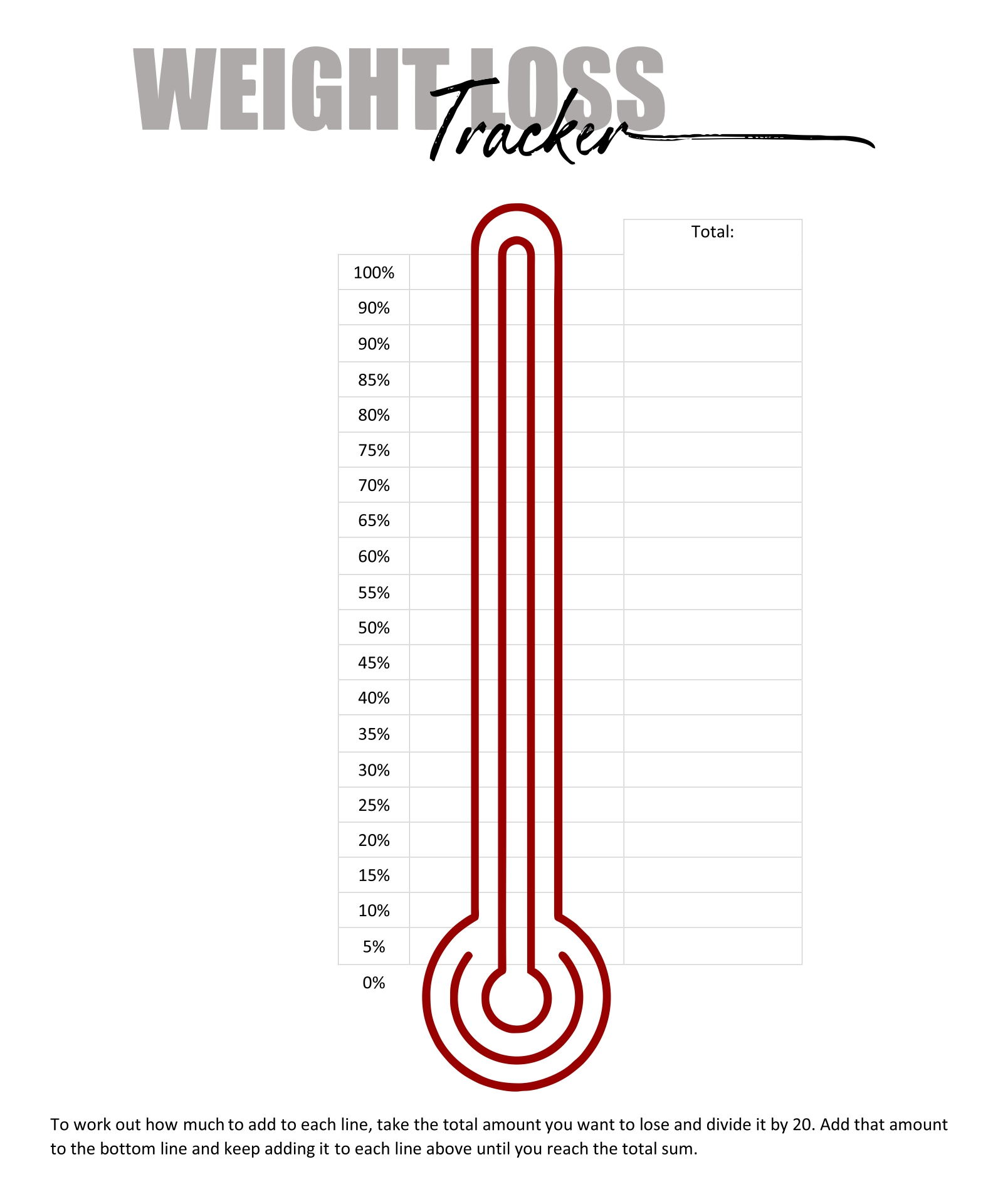 Printable Weight Loss Tracker Chart