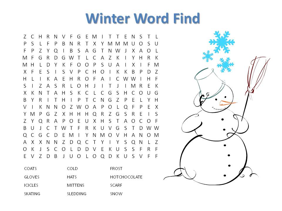 8 Images of Printable Winter Word Find