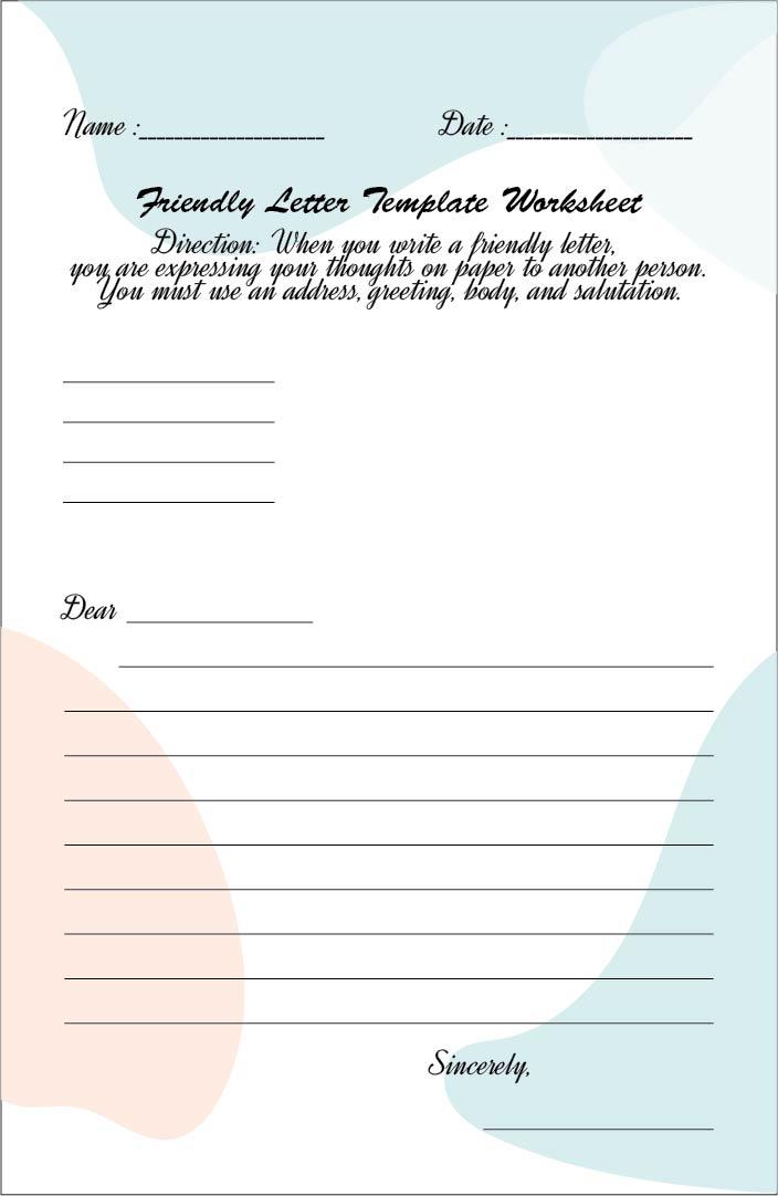 Friendly Letter Worksheet Template
