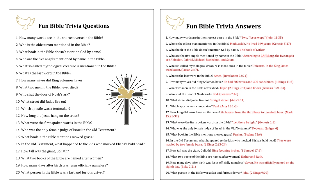 Fun Bible Trivia Questions Answers