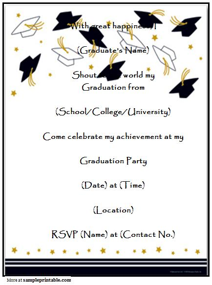8 Images of Graduation Reception Templates Free Printable