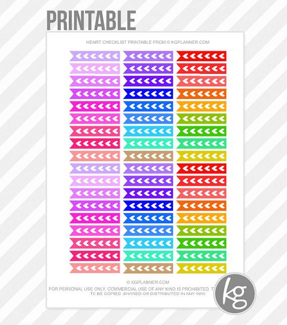 Heart Sticker Checklist Printable