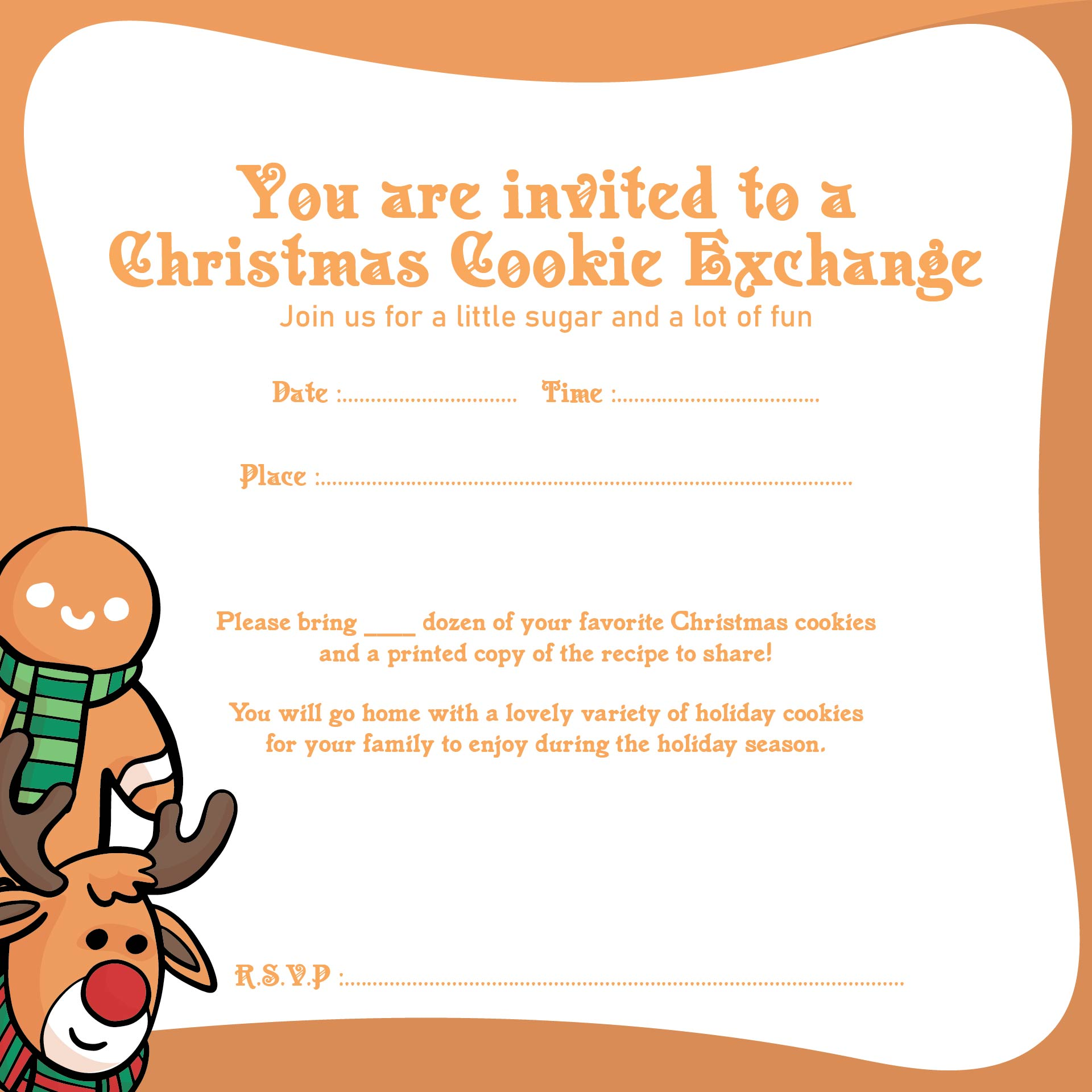 Holiday Cookie Exchange Invitation Template Free