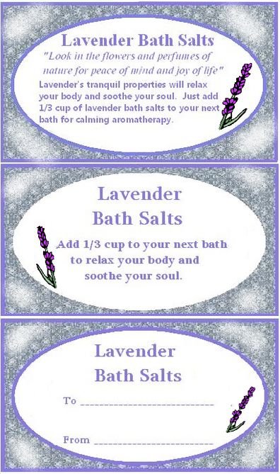 5 Images of Lavender Bath Salt Labels Printable