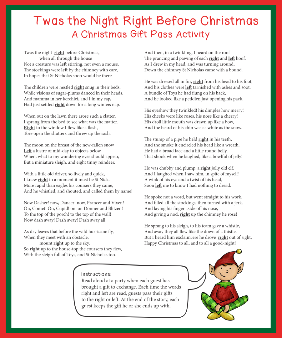 9 Images of Printable Right Left Christmas Game Twas The Night Before
