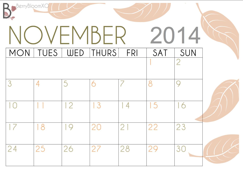 November Calendar 2014 Printable : Best images of cute november calendar printable