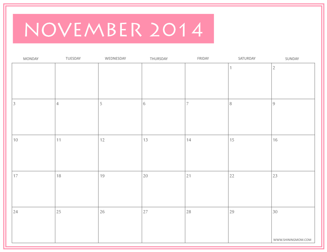 4 Images of Cute November 2014 Calendar Printable Free