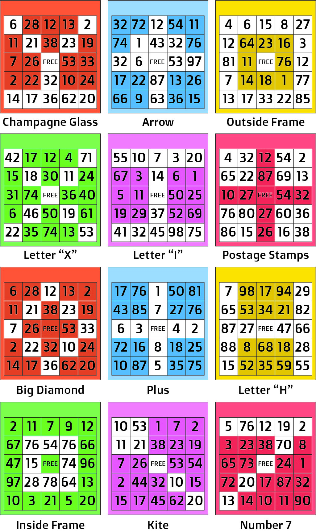 Printable Bingo Card Pattern