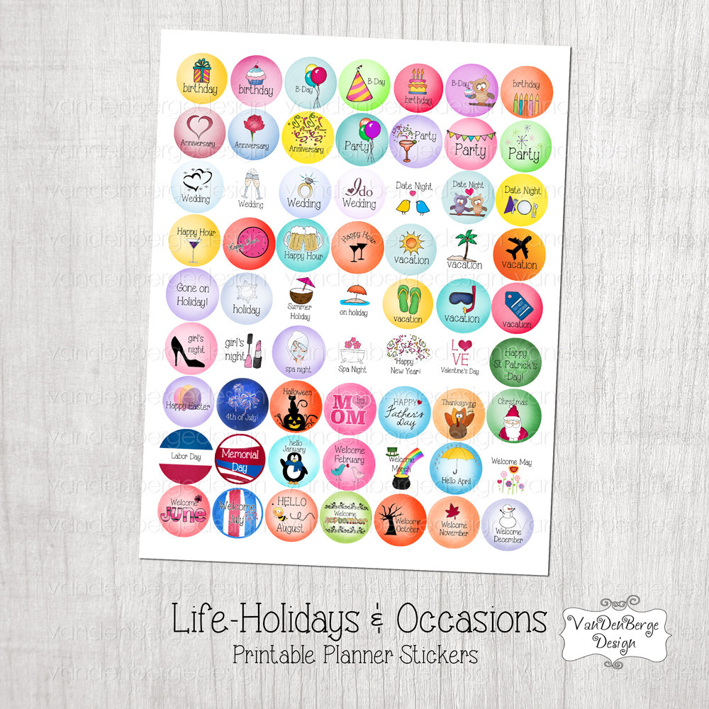 8 Images of Etsy Printable Planner Stickers