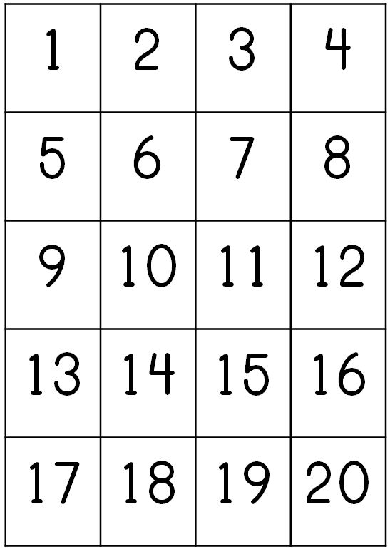 6 Best Images of Number Chart 1 20 Printable - Printable ...