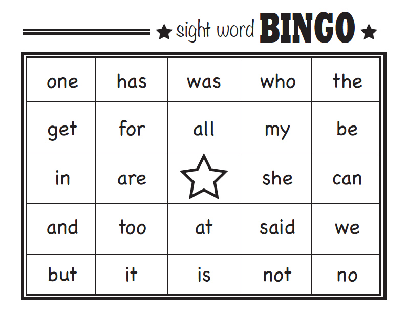 9 Images of Sight Words Bingo Game Printable