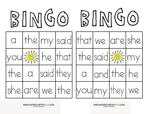 how to play sight word bingo