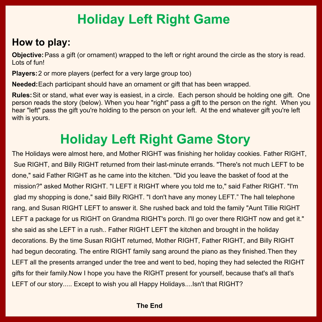 Right Left Christmas Game